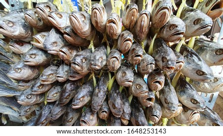 Traditional market, Korean market, dried fish, dried fish, dried yellow corvina, local food