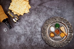 Traditional matzah bread with kosher kiddush and seder. Jewish Passover holiday concept.