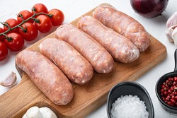 Traditional mest sausages, on white background.