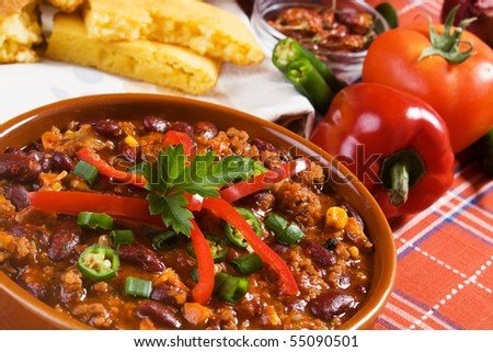 Traditional mexican chili beans with ground beef