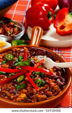 traditional mexican chili with kidney bean and ground beef