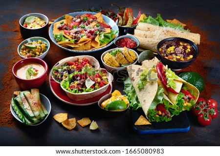 Traditional Mexican food mix on dark background. Foto stock ©