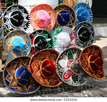 Traditional mexican hats for sale on a display board in the Yucatan - stock photo