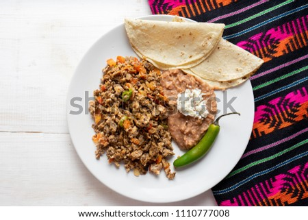 Traditional mexican machaca with egg Foto stock ©