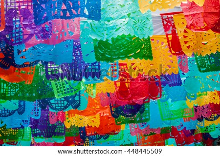 traditional mexican paper bunting decoration celebratory flags in mexico. #448445509