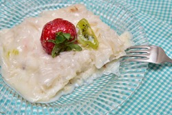 Traditional milky dessert Gullac,usually make in Ramadan with Gullac sheets,sugar,powder of pistachio,milk,hazelnuts and walnut inside if desired.Light and old dessert from Ottoman Cuisine