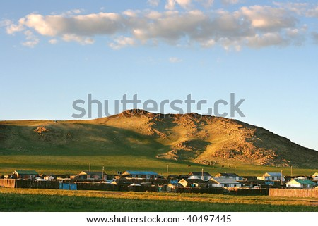 Traditional mongolian village in the sunet