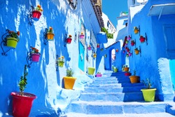 Traditional moroccan architectural details in Chefchaouen, Morocco, Africa