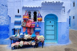 Traditional moroccan architectural details in Chefchaouen Morocco, Africa. Chefchaouen blue city in Morocco.