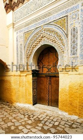 Traditional moroccan door in Tangier, Africa