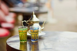 Traditional Moroccan mint tea in a cafe of Marrakech, Morocco
