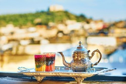 Traditional Moroccan mint tea with sweets