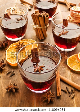 Traditional mulled wine with spices. Shallow dof.