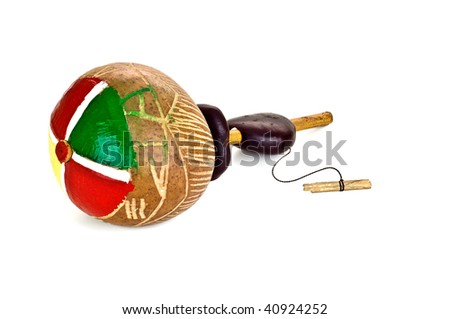 traditional musical instrument maracas isolated - stock photo
