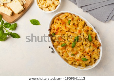 Traditional North American dish. Baked pasta with cheese. Photo stock ©