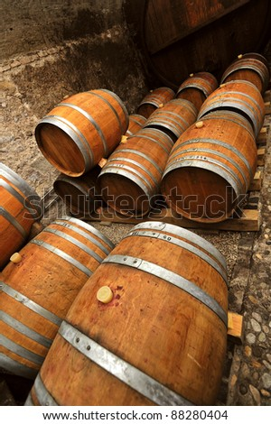 Traditional oaken barrels of fermenting wine in a Swiss wine-producer's cellar. The Swiss do produce wine but it's little-known as they drink most of it themselves. Space for text at top.