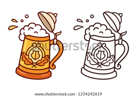Traditional Oktoberfest stein, beer mug, with splashes of foam and beer. Cartoon doodle style clip art illustration.