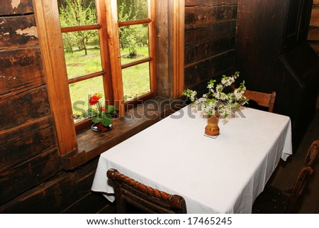 Traditional old latvian house interior