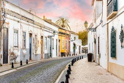 Traditional old Portuguese houses in old town of Faro, Algarve, Portugal