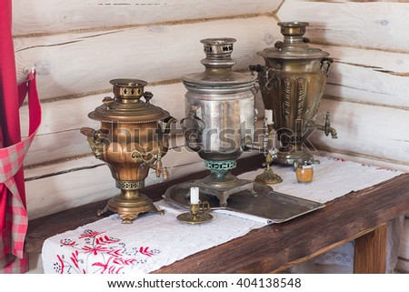 traditional old Russian tea kettle with bagels and marmalades #404138548