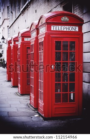 Traditional old style UK red phone boxes in Covent Garden, London