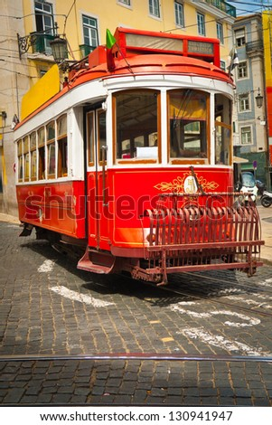 Traditional old touristic tram in Lisbon, Portugal