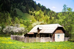 Traditional old wooden house in Carpathian mountains. Dirt road leading to lonely distant village with old wooden houses in mountain gorge. Wooden vintage house in traditional style Romania, Bucovina.