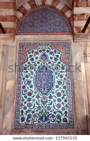 Traditional Oriental Art / Close-up photo of handmade Turkish tiles, Istanbul, Turkey