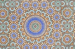 Traditional oriental tiles on the streets of Morocco