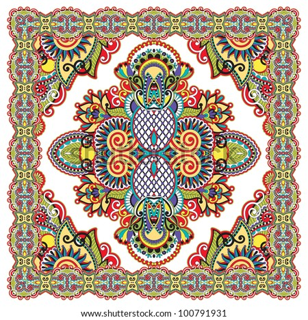 Traditional Ornamental Floral Paisley Bandanna. Raster version