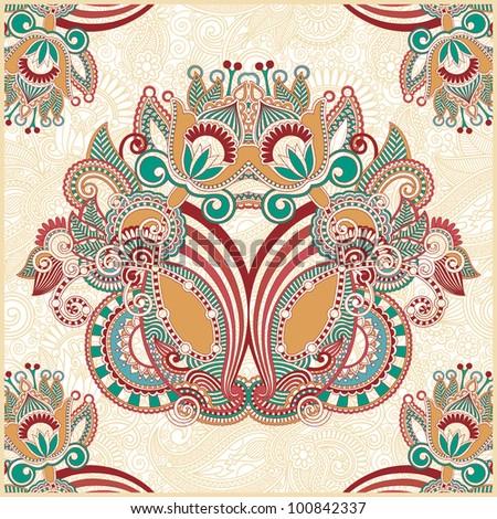 Traditional Ornamental Floral Paisley Bandanna. Raster version
