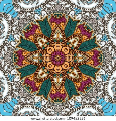Traditional Ornamental Floral Paisley Bandanna. Raster version - stock photo
