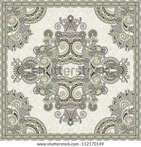 Traditional ornamental floral paisley bandanna. You can use this pattern in the design of carpet, shawl, pillow, cushion. Raster version