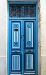 Traditional ornamental Tunisian door, detail from typical Mediterranean Arabic architecture