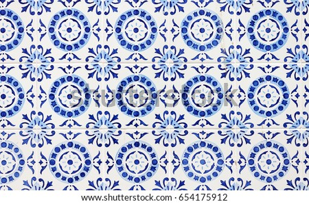 Traditional ornate portuguese decorative tiles azulejos #654175912
