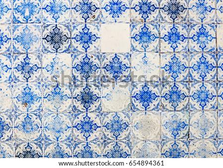 Traditional ornate portuguese decorative tiles azulejos #654894361