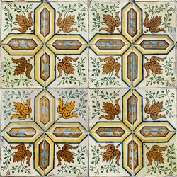Traditional ornated portuguese ceramic tiles (azulejo) with beautiful old flower ornaments, classic floral decoration and colorful art pattern in retro style design, Lisbon (Lisboa), Portugal, Europe.