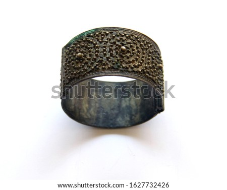 Traditional Ottoman Design   Handmade Cuff Bracelet Closeup Stok fotoğraf ©