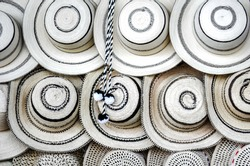 """Traditional Panamanian """"pintao"""" hats. They are handmade using ancestral processes and techniques that were listed as Intangible Cultural Heritage of Humanity by UNESCO in 2017."""