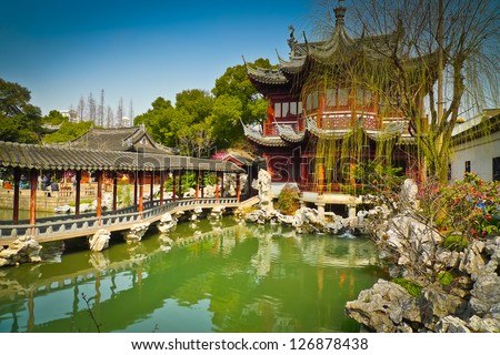 Traditional pavilions in Yuyuan Gardens Shanghai China