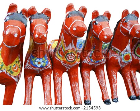 Traditional Philippine red painted papier mache toy ponies