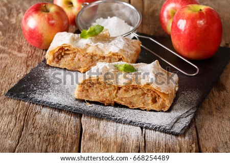 Photo of  Traditional piece of apple strudel with powdered sugar and mint closeup on a table. horizontal