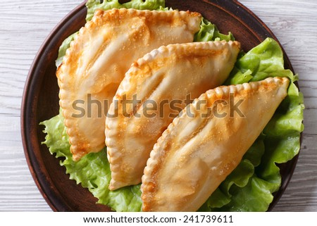 Traditional pies stuffed empanadas on a plate close-up. horizontal view from above