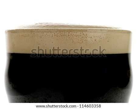 Traditional Pint Of Irish Stout Beer Isolated On White No People Stock photo ©