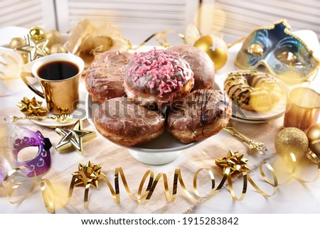 traditional polish doughnuts with icing sugar for Fat Thursday party Zdjęcia stock ©