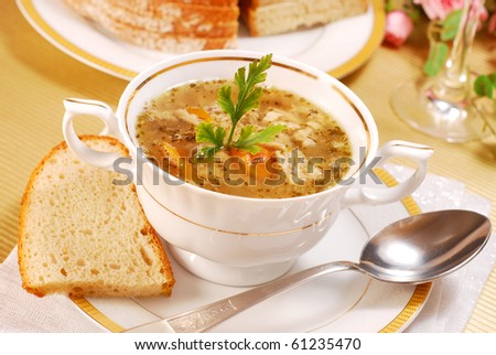 traditional polish tripe soup with vegetables in white elegance dishware