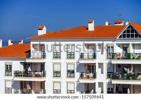 Traditional portugal vacation houses at the ocean resort