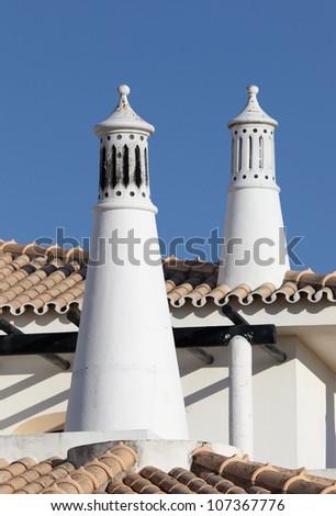 Traditional Portuguese chimney. Lagos, Algarve Portugal