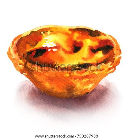 Traditional portuguese Pasteis de Belem de nata, delicious dessert, tart sweet, isolated, watercolor illustration on white