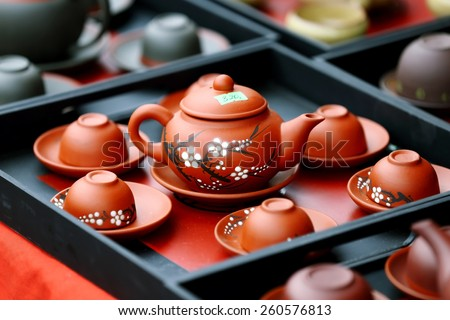 TRADITIONAL PRODUCTS FAIR, NAMDINH, VIETNAM - FEBRUARY 17, 2015 - Traditional ceramic products on display - Every year this Fair is held to promote national traditional products in this location.